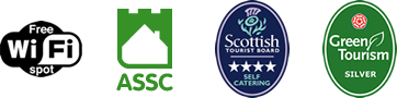 Free WiFi logo, ASSC logo, STB 4 Star Self Catering Award, Green Tourism Silver Award